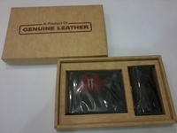 2 pc gift set cow leather wallet