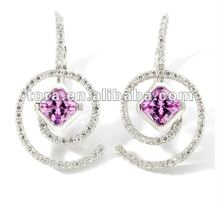 2012 fashion pink crystal swirl clip earring