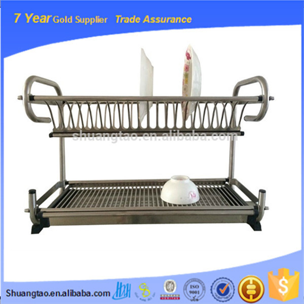 Kitchen unique two tiers stainless steel square dish rack