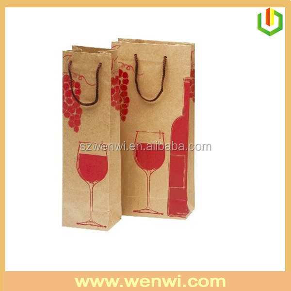 Best price high-quality printing wine bottle paper bags with handles