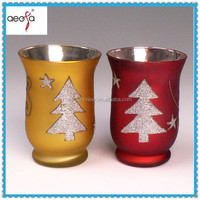 Electroplate glass christmas decor tealight candle holder with modern design set