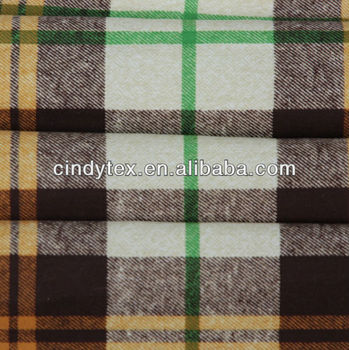 imitated wool plaid printed polyester fabric