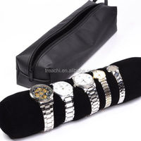 TC Bangle Watch Holder Bag Travel Jewelry Roll Bracelet Black Velvet Jewelry Storage Display TC-17100803
