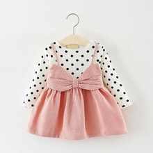 Custom children clothes <strong>girl's</strong> ruffle Wave Point <strong>dress</strong>