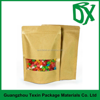 China custom-made plastic coated kraft brown paper bag with window manufacturer