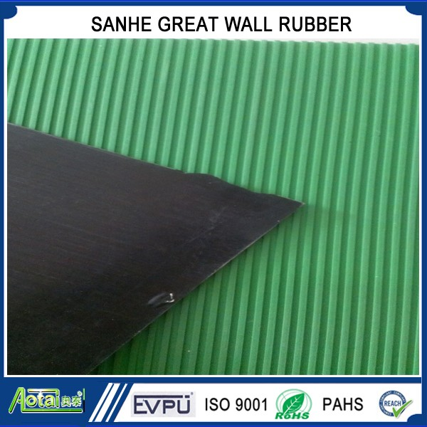 TOP SEAL in South Korea Japan GREEN BLACK Ribbed rubber sheet non slip rubber flooring mat