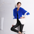 High quality knitted raccoon fur coat for women / factory made fur coat