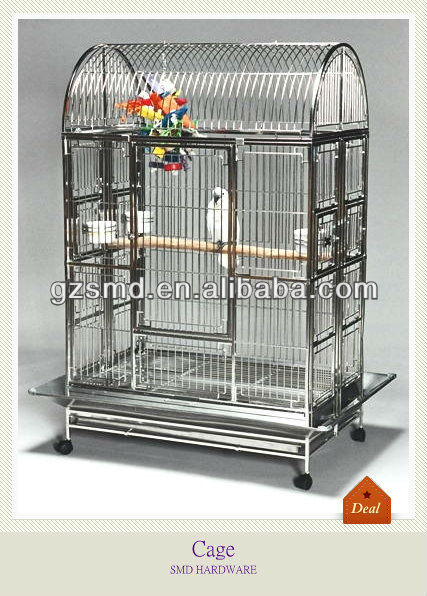 Stainless steel big parrot cage with wheels
