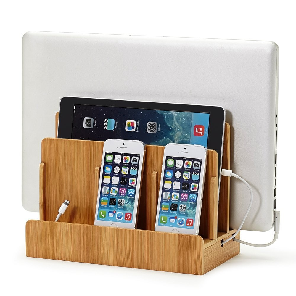Multi-Device Eco-Friendly Bamboo Phone Pad Charging Station