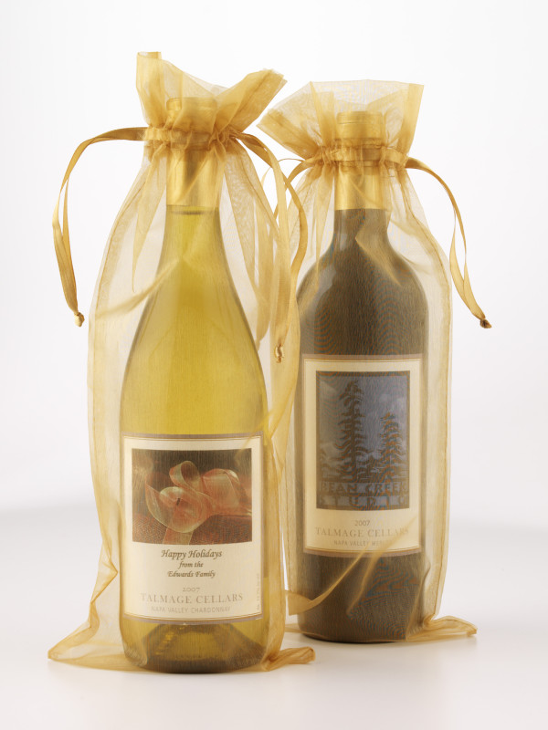 High Quality Gold Organza Gift Bags for wine