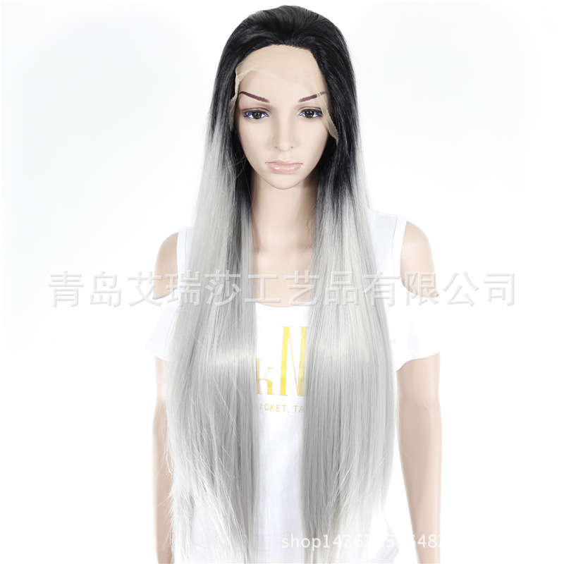 Free Shipping New Women Silk Straight Silver Grey Long Synthetic Lace Front Wig Ombre Heat Resistant Hair Wigs Wholesale
