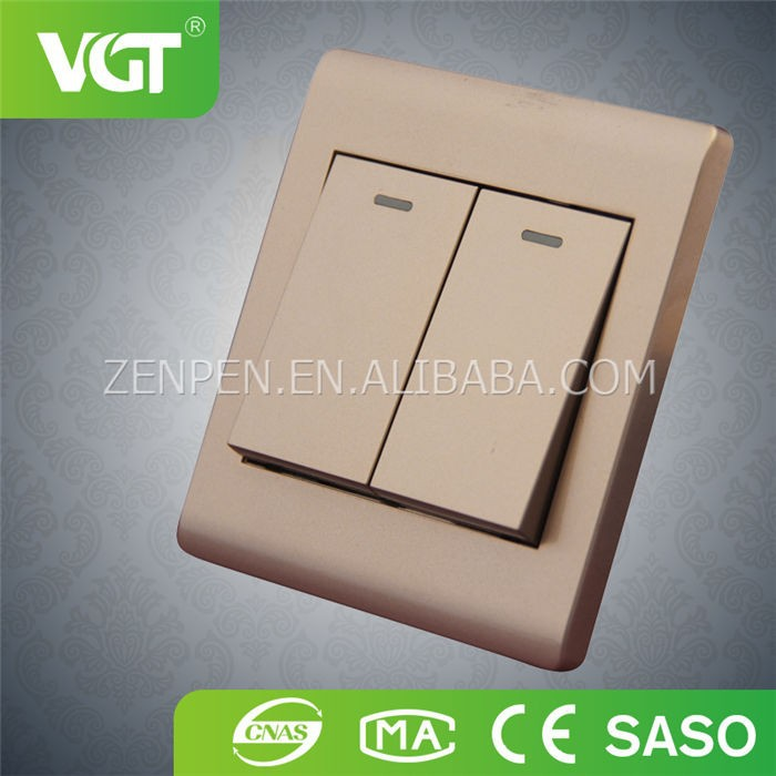 2 gang 1 way UK type wall home light switch made in China