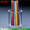 Wholesale round shape clear acrylic pencil holder lucite Perspex pen box display rack