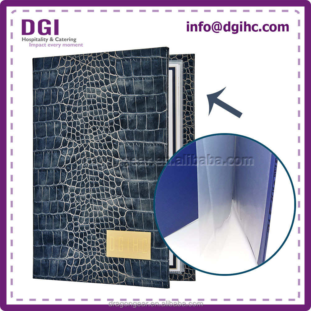 Hot selling pu leather Leather Pu Menu Book Cover for indoor all kinds of sizes led screen usage