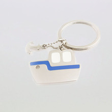 customized cheap price boat shape metal key rings keychain