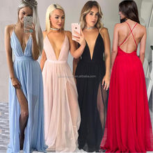 Wholesale Sexy Women Celeb Boho Long Maxi Dress V neck Beach Club Party Backless Sun Dress