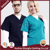 2016 new Unisex cheaper short sleeve scrub suit medical staff uniforms with pants