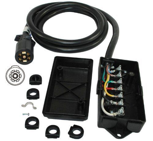 S60185 7 WAY JUNCTION BOX WITH 7 WIRE RV CABLE WIRE AND PLUG