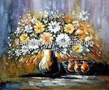 full handmade large flower oil paintings