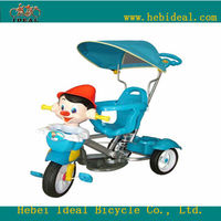 kids cartoon tricycle with cover and basket for baby pedal tricycle