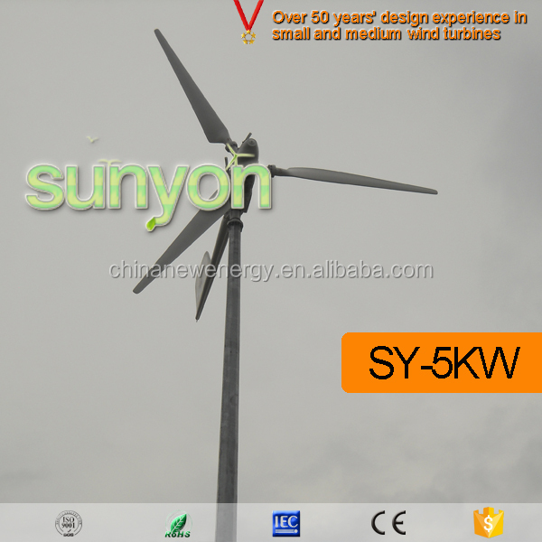 5k pitch controlled off-grid wind turbine with folding tower