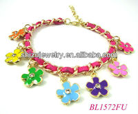 colours enamel rhinestone metal charms for paracord bracelets gold plated
