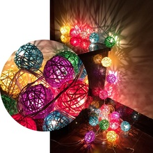 Colorful Rattan Balls LED String Lights Sepak Takraw Holiday Lights Lamp For Christmas Party Living Room Decoratio HNL028B