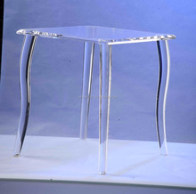 Transparent acrylic wall corner side table with four legs