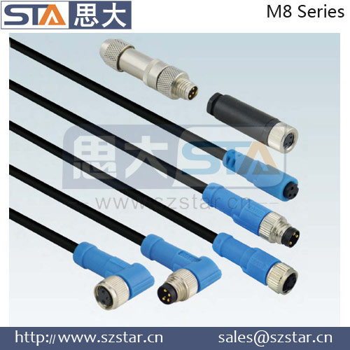 M8 3pin 4pin 5pin 6pin 8pin Right angled shield molded quick coupling 3 pin cable connector