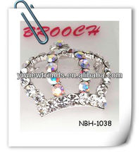 Top quality shiny crown brooch with crystal stones
