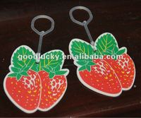 Guangzhou factory OEM strawberry shape hanging paper car air freshener