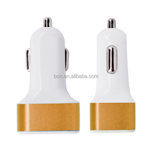 New design 5V 3A 3 ports USB car charger with full metal shell, factory wholesale