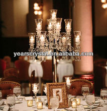Tall 9 arms crystal candelabra crystal wedding table centerpieces votive candle holder