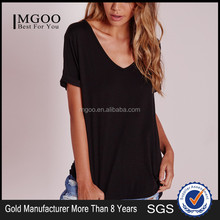 Custom Label Roll Cuffed Blank T Shirt Free Casual Style Women Sexy V Neck Slim Fit Tees Top