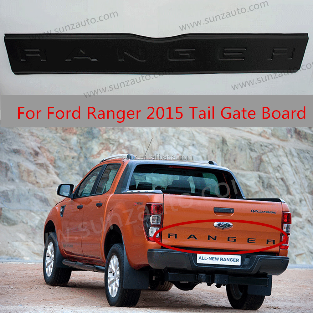 ABS tail gate board cover rear black trims for Ford Ranger T7 2015 Ranger 4x4 Pickup2016