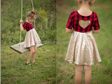 New Style Girls Dress Short Sleeve Summer Sequins Christmas Plaid Heart back Design Party Kid Dress