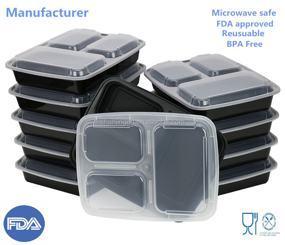 China Factory direct Meal Prep 3-Compartment Food Containers, 10pack, Leak Proof, Microwave, bento lunch food box container