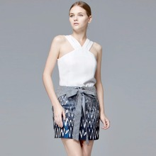 summer casual skirt Dobby wave pattern mini skirt