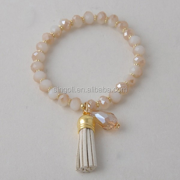 Glass Crystal Leather Tassel Bracelet Beaded Tassel Bracelet GLB8738-1