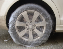 PE disposable plastic car wheel/tire covers with printing
