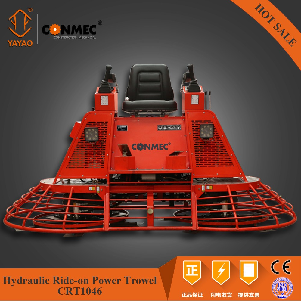 Super Quality CONMEC concrete Hydraulic Ride on Power Trowel CRT10-46 with hydraulic steering and hydraulic picth control