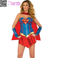 2017 Adult Womens Leather Corset Sexy Supergirl costume L15506