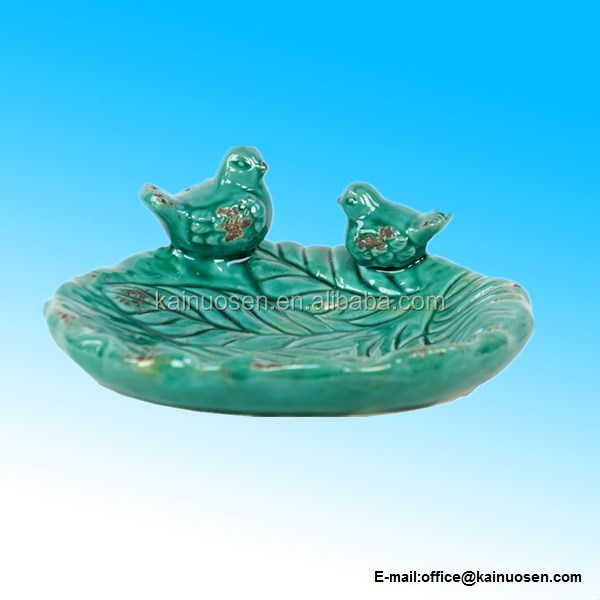 Ceramic Bird Feeder with Leaf Pattern & Two Sitting Birds, Turquoise