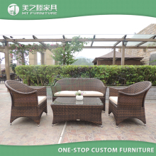 Outdoor Modern Garden PE Rattan Wicker Sofa with Cushions and Pillows