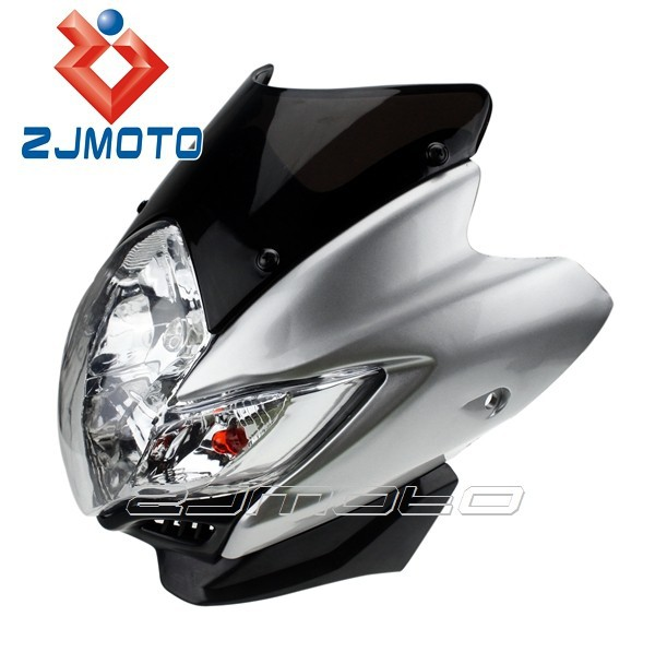 Silver 12V Streetfighter Spyder Fairing Universal Front Head Light Street Fighter Motorbike Headlights For Dirt Bike
