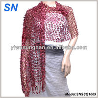 Fishnet Sequin Paillette Scarf in Burgandy