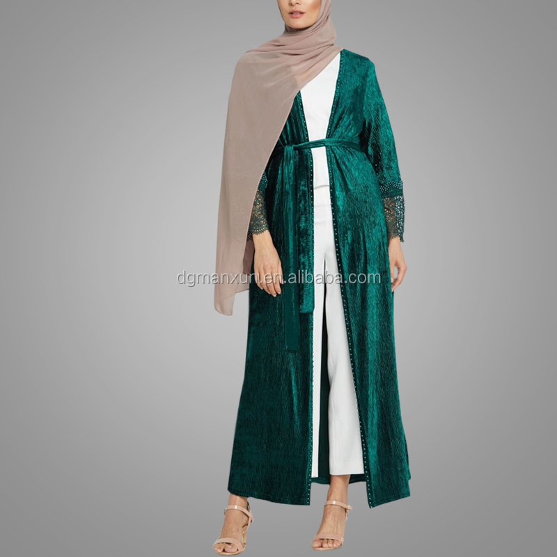 Muslim Women Dress Long 2018 Fashion Elegant Design Open abaya For Ladies Green Beads Modest Muslim Cardigans
