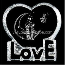 Heart shape crystal iceberg with love words for wedding souvenir decoration