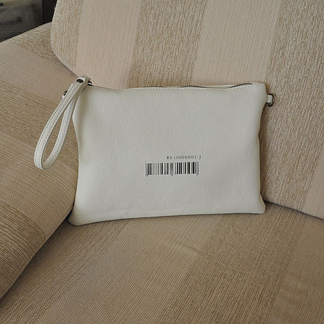 Wholesale Special barcode design printing Simple White PU Flat Wristlet Wallet