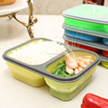 Microware silicone material two compartments food container